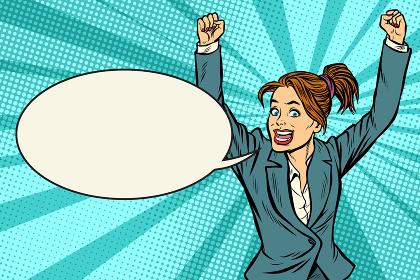 businesswoman winner hand gesture up