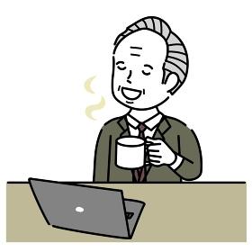 ノートパソコンで仕事中にリラックスするシニア男性イラスト素材