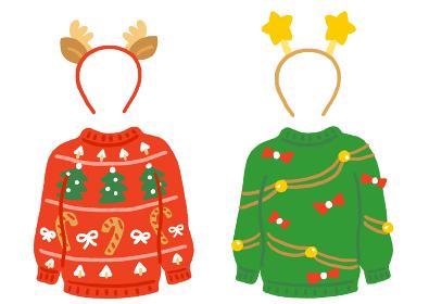 ダサいクリスマスセーターとカチューシャのセ
