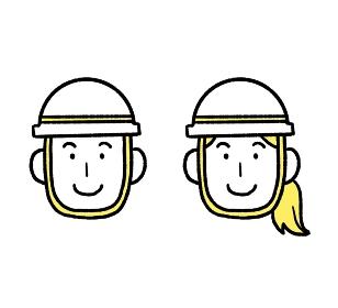 作業員の男女の顔のイラスト