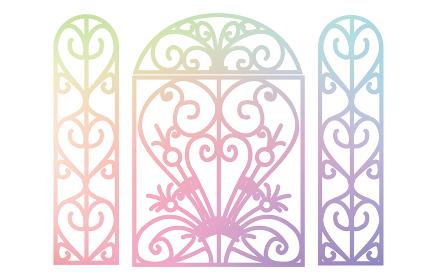 キリスト教会のゴシック風装飾の窓、シルエッ