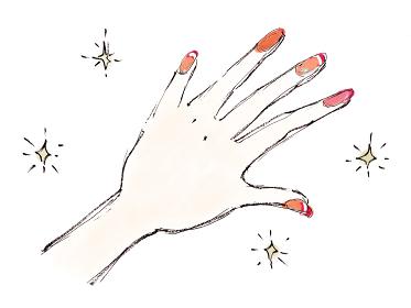 手描きイラスト素材 お洒落 手 ネイルアート ネイル 指 マニキュア