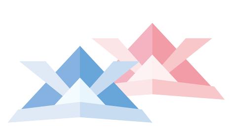 折り紙を模した2色のカブト兜のイラスト アイコン|端午の節句子供の日