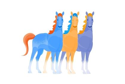 カラフルな3頭の馬 イラスト