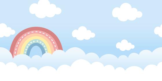 虹と雲、晴れた空のシームレスな背景素材