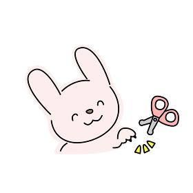 ウサギの爪切りのイラスト(ピンク)