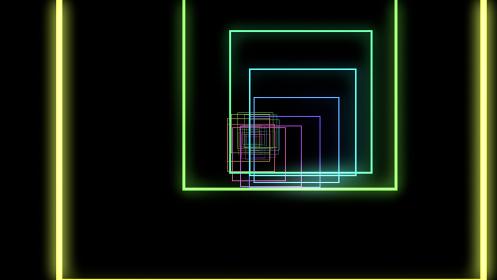 トンネル ネオン ライン 虹色 抽象的 3D イラスト 背景 バック