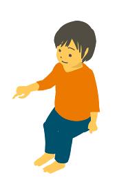 アイソメトリック 座って指差ししているかわいい幼児のベクターイラスト