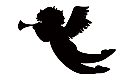 天使のラッパを吹くキューピッド 黒のシルエッ