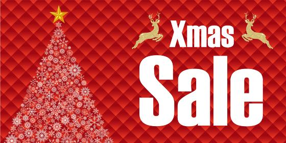 クリスマスセールバナー販売促進用テンプレート|雪の結晶クリスマスツリーとグリッドの背景