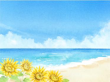 海とヒマワリと青空 夏の背景 水彩イラスト