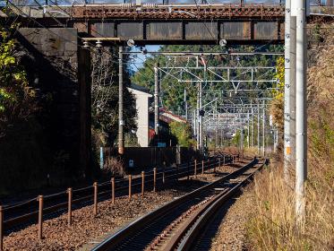 地形に合わせて曲がる東海道本線の線路 興津駅付近