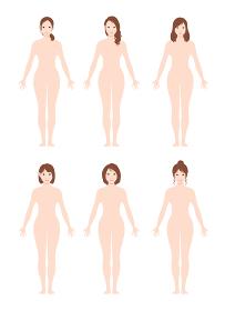 日本人・アジア人 / 女性 全身 裸・ヌード (シルエット / 輪郭 ) イラスト