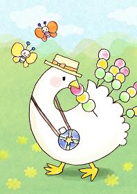 花見団子を食べながらお散歩するアヒルの水彩イラスト