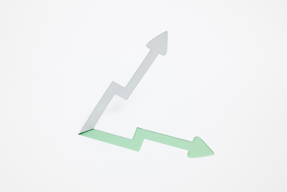 増収・上昇のイメージ (※B・緑色)