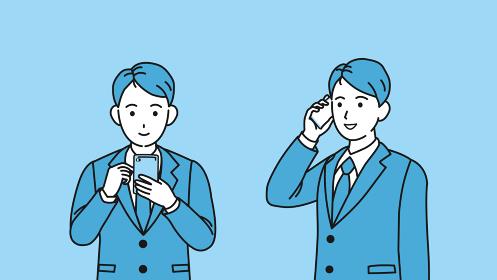 スマートフォンを使うスーツ姿の男性 携帯電話 会社員 ビジネスマン 上半身 イラスト素材