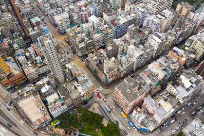 Kowloon city, Hong Kong 03 April 2019: Drone fly over Hong Kong city