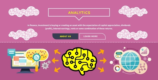 Monitor with charts and parameters. Business concept of analytics. Brain analyzes the incoming information. Can be used for web banners, marketing and promotional materials, presentation templates