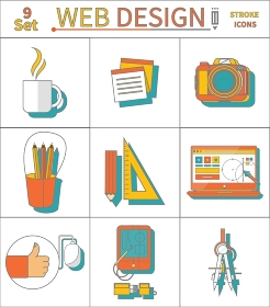 Web design concept. Set thin line stroke icons of laptop, camera, cup of tea, pencil with ruler, tablet for web design and architecture in flat design.