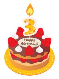 3歳のキャンドルをのせた苺とチョコのお誕生日ケーキ