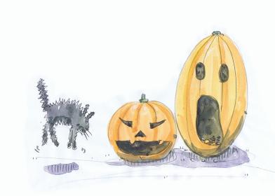 ハロウィンのかぼちゃに驚く猫の水彩画イラスト