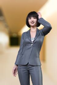 ダークグレーのスーツを着たボブヘアのビジネスウーマンがオフィスの廊下で頭に手を当てる