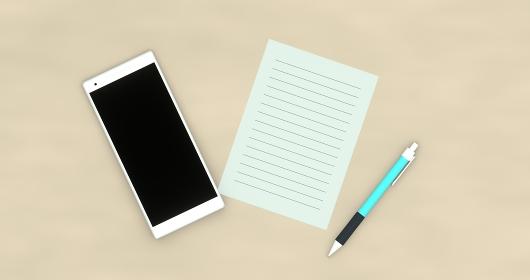 テーブルの上のスマートフォンと紙とペン 3DCG