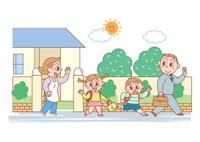 会社に向かう父親と学校に向かう姉弟を見送る母親