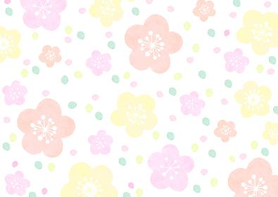 水彩で描いた和風の花の模様
