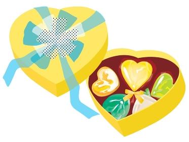 ホワイトデーのキャンディーとチョコとハート型の箱 黄
