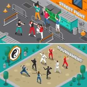 Martial Arts People Isometric Banners. Isometric set of horizontal banners with people doing martial arts outdoors isolated vector illustration