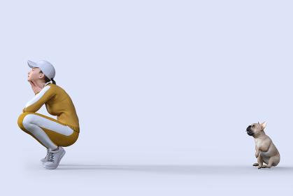 ランニングしていた黄色いジャージを着た女の子がしゃがむ後ろにフレンチブルドッグが座る