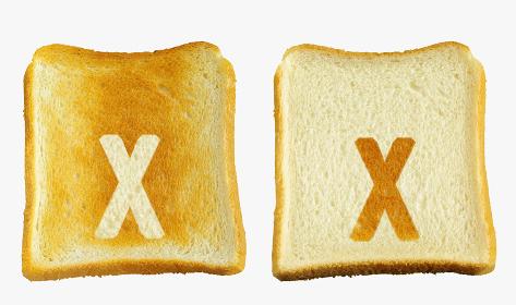 食パンに焼印風のアルファベットの小文字のx