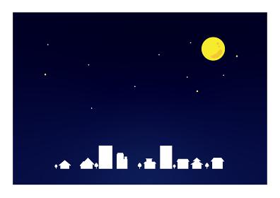 夜空 街と月 背景素材