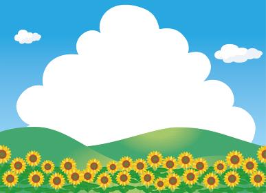 夏のイメージのイラスト自然背景素材 向日葵ヒマワリ畑と青空と白い雲入道雲文字スペース