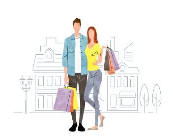 イラスト素材:ショッピング、買い物をする夫婦