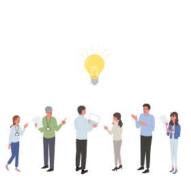 ビジネスイメージ 人物と電球 アイディアのイラスト アイソメトリック