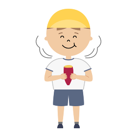 焼き芋を食べている男の子のイラスト (全身)
