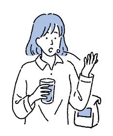 シンプルなタッチ 薬を飲む女性のイラスト