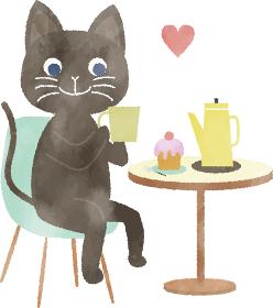おうちカフェ ティータイムを楽しむ猫のイラスト 水彩風