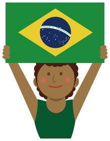 人種と国旗 / 国旗を掲げた若い女性 上半身イラスト/ ブラジル