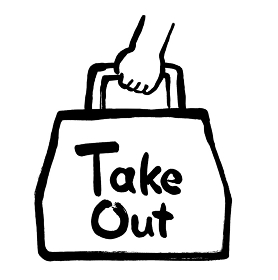「TAKEOUT」文字のあるお持ち帰り用紙袋のイラスト素材