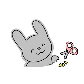 ウサギの爪切りのイラスト(グレー)