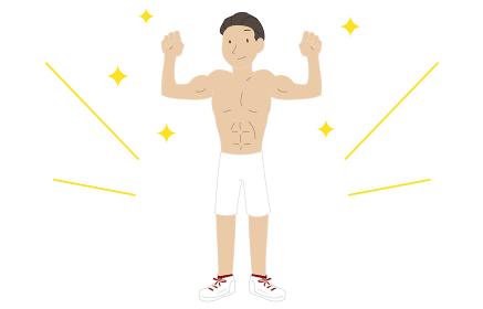 筋トレをして筋肉をつけた男性のイラスト