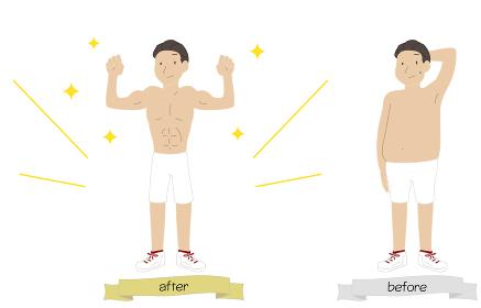 メタボ男性が運動をして筋肉質になったイラスト
