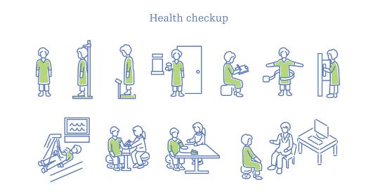病院で健康診断するシニア男性