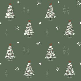 手描きのツリーと雪の結晶のシームレスパターン