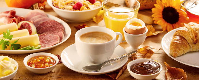 Healthy autumn breakfast in a panorama banner