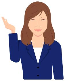 若い女性会社員 ( OL, ビジネスウーマン ) 上半身イラスト / おすすめはこちら, 笑顔