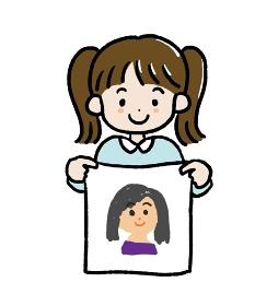 母の日にお母さんの似顔絵を描いた女の子のイラスト